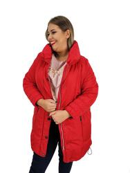 Zimowa czerwona kurtka  PLUS SIZE z kołnierzem