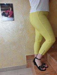 Żółte spodnie 7/8 strecz, wysoki stan, nogawka z zamkiem