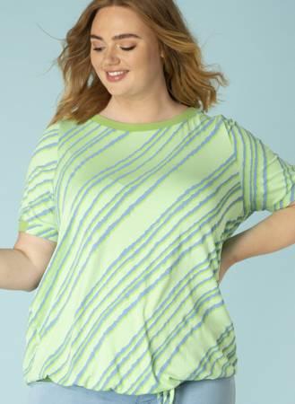 Dzianinowa bluzka z wiązanym dołem w kolorze pastelowej zieleni