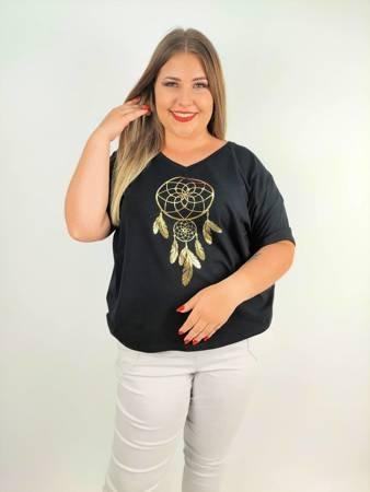 Czarny T-shirt z łapaczem snów plus size