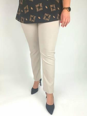 Eleganckie, beżowe spodnie ze streczem XXL